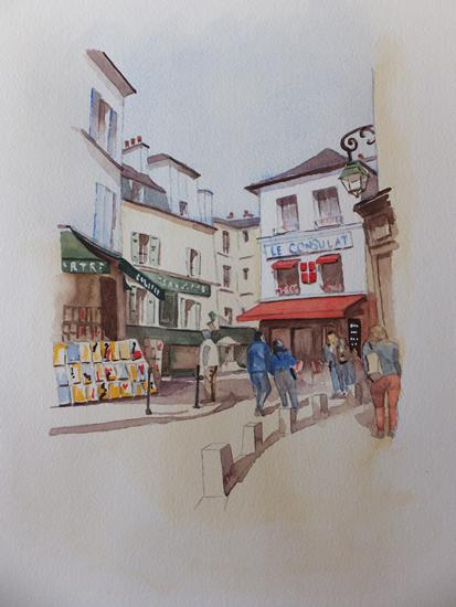 Stroll through Montmartre, Paris - Europe Art Gallery - Painting by Woking Surrey Artist David Harmer