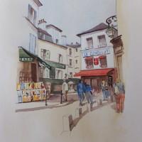 Stroll through Montmartre, Paris – Europe Art Gallery – Painting by Woking Surrey Artist David Harmer