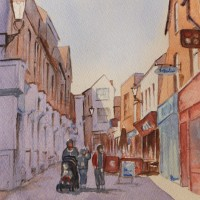 Swan Lane, Guildford – Surrey Scenes Art Gallery – Painting by Woking Surrey Artist David Harmer