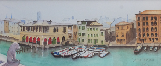 Venice - The Old Fish Market - Britain Art Gallery - Painting by Woking Surrey Artist David Harmer