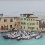 Venice –  Old Fish Market – Italy Art Gallery – Painting by Woking Surrey Artist David Harmer