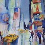 Time Square New York USA – Cities Art Gallery – Watercolour Painting – Art by Woking Surrey Artist David Harmer