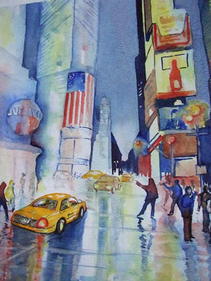 Time Square New York USA - Cities Art Gallery - Watercolour Painting - Art by Woking Surrey Artist David Harmer