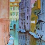 Tranquil Venice Canals – Watercolour Painting – Art Gallery of Woking Surrey Artist David Harmer