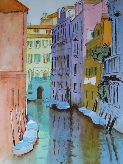 Tranquil Venice Canals - Watercolour Painting - Art Gallery of Woking Surrey Artist David Harmer