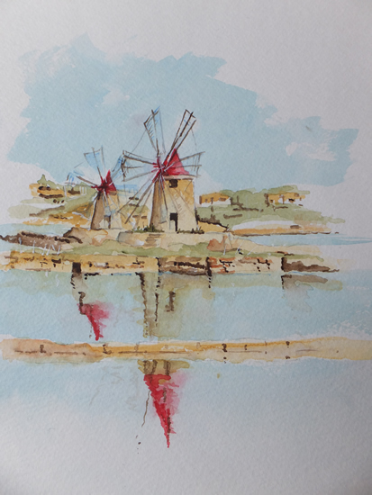 Vignette of Salt Mills near Marsala in Sicily - Europe Art Gallery - Painting by Woking Surrey Artist David Harmer