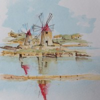 Vignette of Salt Mills near Marsala in Sicily – Europe Art Gallery – Painting by Woking Surrey Artist David Harmer