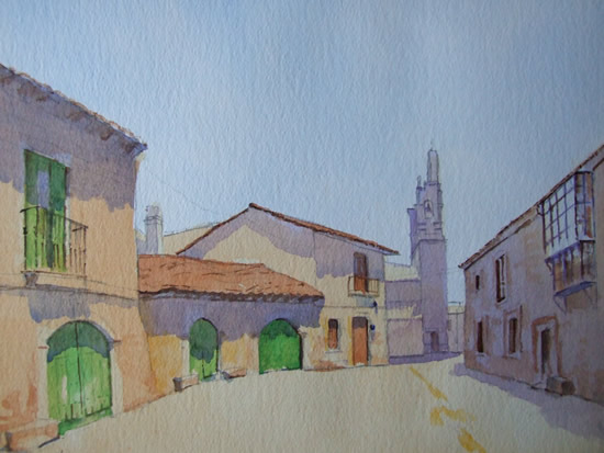 Village in Galicia - Spain Art Gallery - Painting by Woking Surrey Artist David Harmer