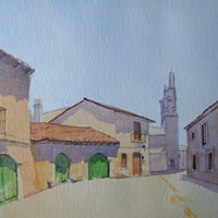 Village in Galicia – Spain Art Gallery – Painting by Woking Surrey Artist David Harmer