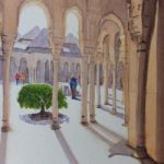 Walking Round the Alhambra Palace – Europe Art Gallery – Painting by Woking Surrey Artist David Harmer