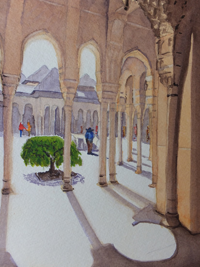 Walking Round the Alhambra Palace - Europe Art Gallery - Painting by Woking Surrey Artist David Harmer