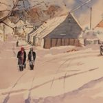 Wanborough Barn near Farnham in Snow – Winter Art Gallery – Watercolour Painting – Art by Woking Surrey Artist David Harmer