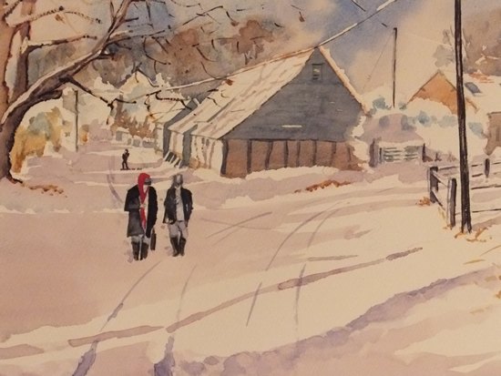 Wanborough Barn near Farnham in Snow - Winter Art Gallery - Watercolour Painting - Art by Woking Surrey Artist David Harmer