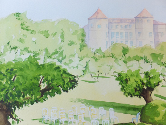 Wedding Venue in France - Europe Art Gallery - Painting by Woking Surrey Artist David Harmer