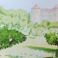 Wedding Venue in France – Europe Art Gallery – Painting by Woking Surrey Artist David Harmer