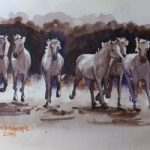 Wild Horses of the Camargue – Animals, Birds and Plants Art Gallery – Painting by Woking Surrey Artist David Harmer