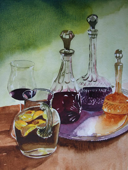 Wine Decanters - Still Life Art Gallery - Painting by Woking Surrey Artist David Harmer
