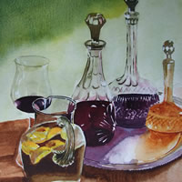 Wine Decanters – Still Life Art Gallery – Painting by Woking Surrey Artist David Harmer