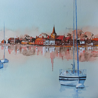 Bosham Harbour and Church near Chichester West Sussex – Art Gallery – Painting in Watercolour