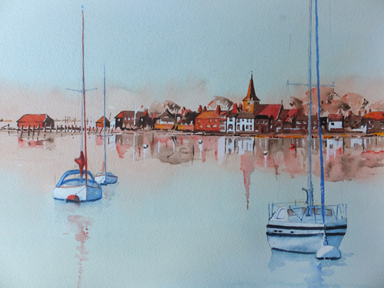 Bosham Harbour and Church near Chichester West Sussex - Art Gallery - Painting in Watercolour