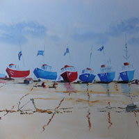 Devon Art Gallery – Boats on the Beach at Beer