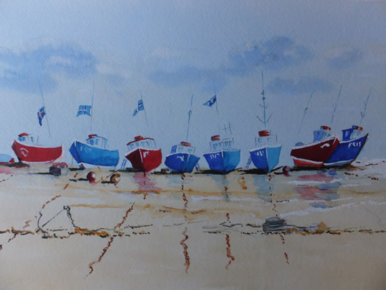 Devon Art Gallery - Boats on the Beach at Beer