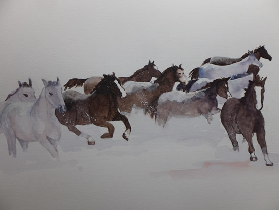 Horses in the Snow - Watercolour Painting - Woking Surrey Artist