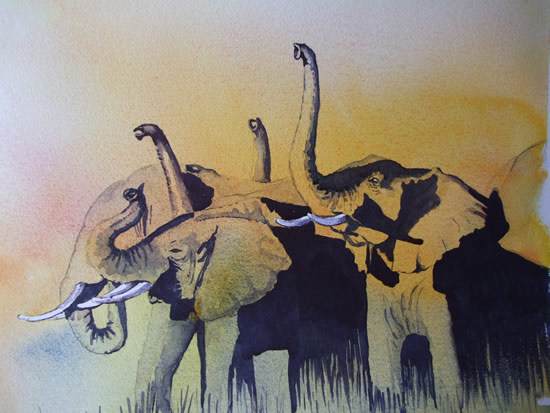 Art - Elephants Sniffing the Air