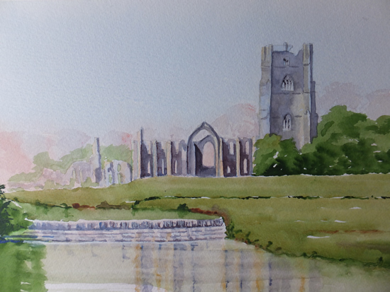 Fountains Abbey Watercolour Painting - Yorkshire Art Gallery