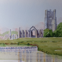 Fountains Abbey Watercolour Painting – Yorkshire Art Gallery