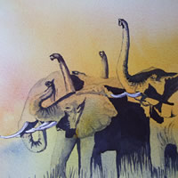 Art – Elephants Sniffing the Air