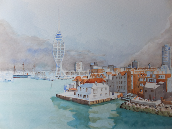 Portsmouth Harbour with Spinnaker Tower Watercolour Painting