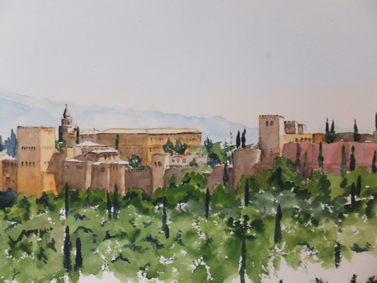 Alhambra Palace - Art Gallery - Watercolour Painting For Sale
