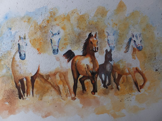 Horses out of the Mist - Animals Art Gallery