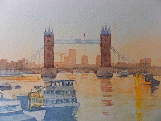 Tower Bridge Sunrise - London Art Gallery - Watercolour Painting