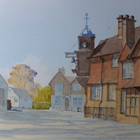 Abinger Hammer with Striking Clock – Watercolour Painting