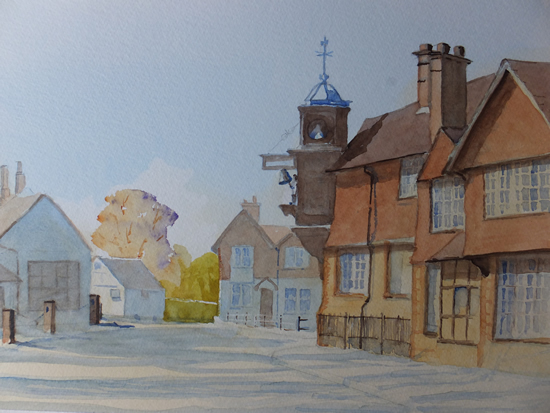 Abinger Hammer with Striking Clock - Watercolour Painting
