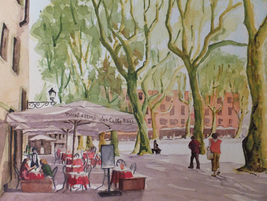 Old Town Square in Lucca Tuscany - Europe Gallery - Pirbright Art Club Member David Harmer