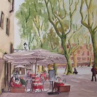 Old Town Square in Lucca Tuscany – Europe Gallery – Pirbright Art Club Member David Harmer